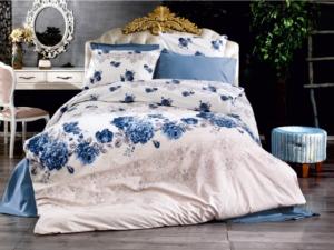 Bedbox Çift Kişilik Ranforce Flora Mavi Desenli  Nevresim Takımı 3032