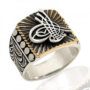 Osmanlı Tuğralı Desenlii Gümüş Yüzük EY188