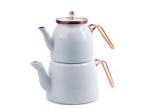 Valery Emaye Beyaz/Bakır Çaydanlık