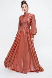 Önü Büzgülü Simli Uzun Abiye Elbise Kiremit