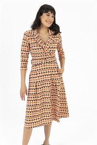 Desenli Klasik Yaka Cepli Elbise Oranj