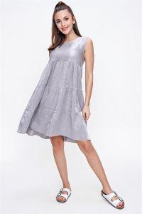 Fırfırlı Taşlanmış Pamuk Saten Kolsuz Elbise Gri
