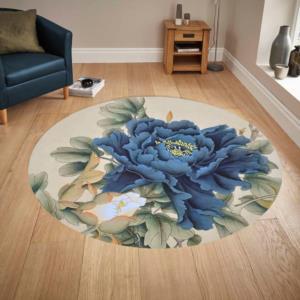 Kozzy Home Yıkanabilir Deri Tabanlı Yuvarlak Halı RFE6742