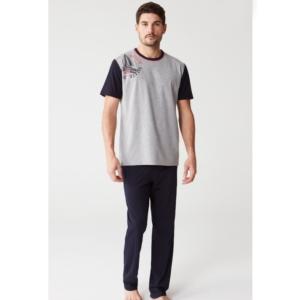 Mod Collection 3242 Erkek Pijama Takımı Gri Melanj