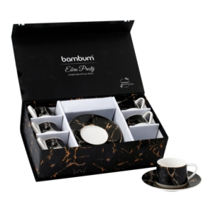 Bambum Ebru Prestij - 6 Kişilik Kahve Fincan Takımı Siyah B1379