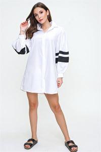 Kolu Şeritli Oversize Gömlek Beyaz