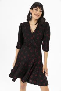 Saygı Çiçek Desen Baskılı Kaşkorse Elbise