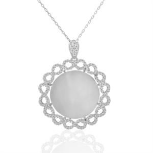 İşlemeli Plaka Gümüş Kolye KL332