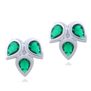 Gümüş Yeşil Taşlı Üç Yaprak Küpe