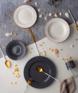 Acar 24 Parça Defne Gri Porselen Yemek Takımı