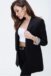 Kol Katlamalı  Blazer Ceket Siyah