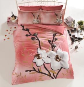 İyi Geceler İstanbul Çift Kişilik Orchids Somon Pamuk Saten  3D Nevresim Takımı