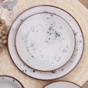Esta 24 Parça Yuvarlak Porselen Yemek Takımı Yeşil Kahve Yaldız