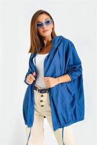 Yarasa Kol Soft Cotton Kapşonlu Cepli Kısa Trençkot Mavi
