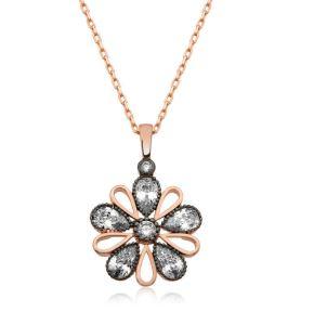 Gümüş Elmas Montür Çiçek Bayan Kolye