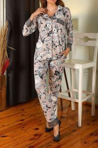 Nicoletta Vizon Kadın Pijama Takımı Cepli Düğmeli
