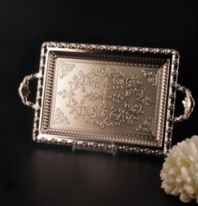 Bayev Dekorlu Gümüş Dikdörtgen Tepsi - 200609