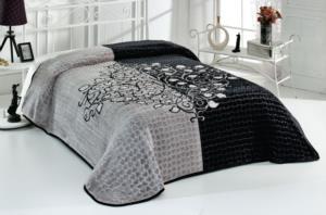 Evlen Home Roses Çift Kişilik Siyah Battaniye 220X240 cm (B14)