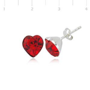 Gümüş Kırmızı Kalpli Bayan Küpe
