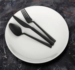 Yetkin Lara Titanyum Siyah 36 Parça Çatal Kaşık Bıçak Takımı