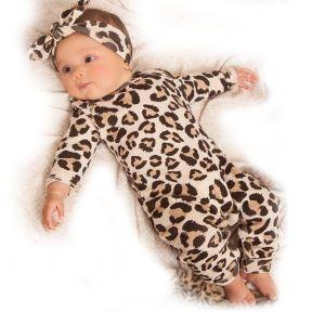 Leopar Bandanalı Kız Bebek Tulum