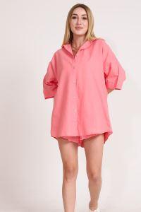 Wpr Pamuk Keten Şort Gömlek Kadın İkili Takım