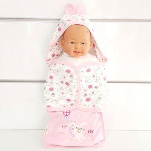 Tavşanlı Pembe Beyaz Kız Bebek Kundak Battaniye