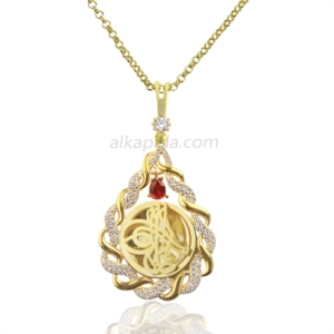 Gümüş İşlemeli Burma Damla Tuğralı Plaka Kolye PLK09-GOLD
