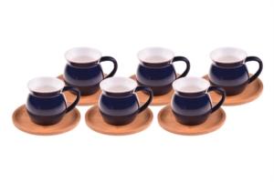 Bambum Selam - 6 Kisilik Kahve Fincan Takimi Mavi B1308