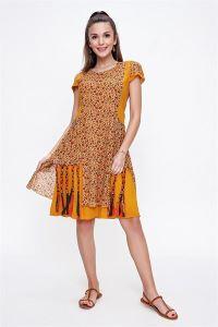 Etek Uçları Örgü Desenli Empirme Otantik Elbise Hardal