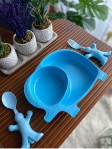 Bayev Çocuklar İçin 6 Parça Mama Seti - Fil Pembe-Mavi