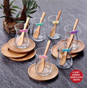 Tohana Bambu Tabaklı 18 Parça Çay Bardağı Takımı THN99021