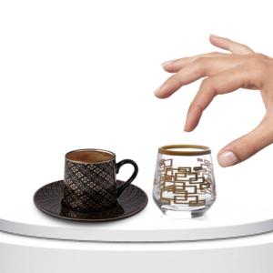 Çınar Kristal 6 Adet Kutu Kare Sade Fıçı Kahve Yani Bardak