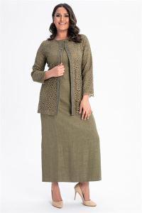 Önü Boncuklu Dantelli Büyük Beden Elbise Ceket Takım Haki