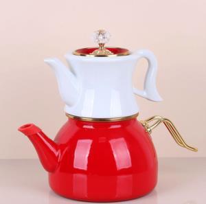 Bastonlu Züccaciye Kırmızı Vintage Çaydanlık