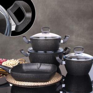 Fms Bodrum 7 Parça Siyah Granit Tencere Seti G-5014