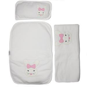 Pembe Kurdelalı Tavşan Nakışlı Alt Açma + Battaniye Set