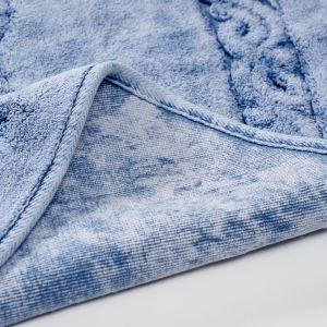 Alanur Damaks Eskitme Mavi Cotton Yuvarlak Halı ( 120 x 120 cm )