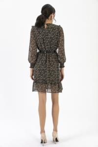 Saygı Fırfırlı Çiçekli Şifon Elbise