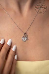 Swarovski Taşlı Kalp ve Anahtar Model Gümüş Kolye