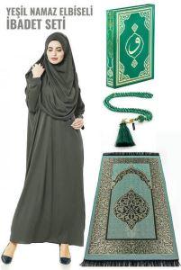 Haki Yeşil Namaz Elbiseli İbadet Seti