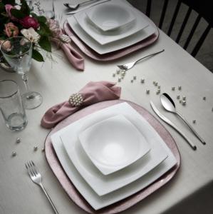 Karaca Fine Pearl Valentina 62 Parça 12 Kişilik İnci Yemek Takımı Kare