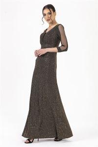 Simli Uzun Elbise Gold