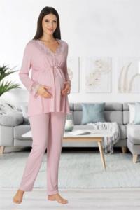 Effort Dantel Süslemeli Pudra Hamile Lohusa Pijama Takımı 8092