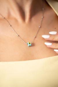 Toplu Model Mavi Nazarlık Gümüş Kolye