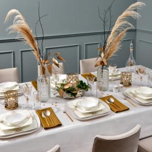 Karaca Fine Pearl Barok 62 Parça 12 Kişilik İnci Yemek Takımı Kare