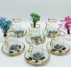 Gürcü Glass 12 Parça Gül Desen Kulplu Çay Seti