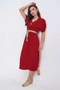Omuz Toka Detaylı Düşük Kollu Kemerli Elbise Kırmızı