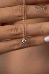 Swarovski Taşlı Yıldız Model Rose Kaplama Gümüş Kolye