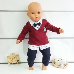 Lux Armalı Bordo Puanlı Gömlekli Pantolonlu 2 li Papyonlu Erkek Bebek Takımı